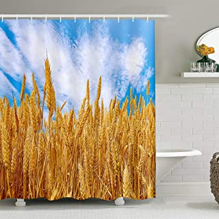 Gold Wheat Field Shower Curtain Farm Crops Blue Sky Clouds Art Nature Polyester Cloth Bathroom Decor Sets with Hooks 72x72...