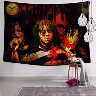 LCCKSS Trippie Rap 1400 Redd Skull Clock Moon Tapestry 3D Wall Hanging Home Decor Blanket Room Decoration 70.9 x 92.5 Inch