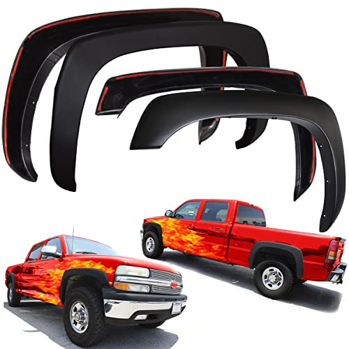 4 Piece Set Galaxy Auto Fender Flares for 2007-13 Chevy Silverado 1500 - Pocket Riveted Style in Paintable Smooth Matte Black 69.3 Short Bed Only