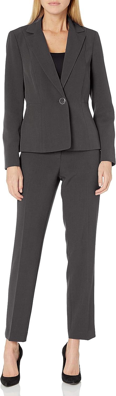 Le Suit Women's Plus Size Stretch Crepe 1 Button Notch Collar Pant Suit