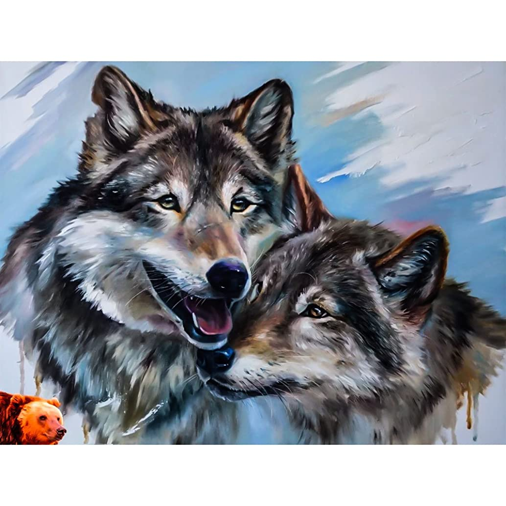 UPMALL DIY 5D Diamond Painting by Number Kits, Full Drill Crystal Rhinestone Embroidery Pictures Arts Craft for Home Wall Decoration Two Wolf Laughs 15.75×11.81 Inches