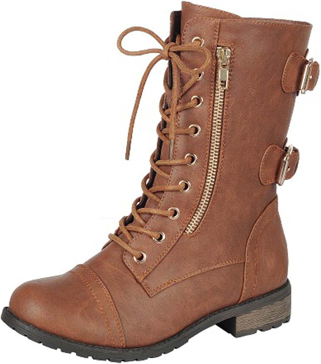 Forever Woherrar Mango -71 Faux läder Military Style Style Style Ankle stövlar with Thick Sole and Buckles  den mest fashionabla