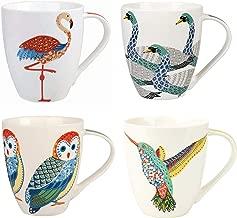 Churchill China Queens Paradise Birds Colourful Swans Owl Flamingo Hummingbird Mug Cup Set of 4 500ml 16.9 fl oz