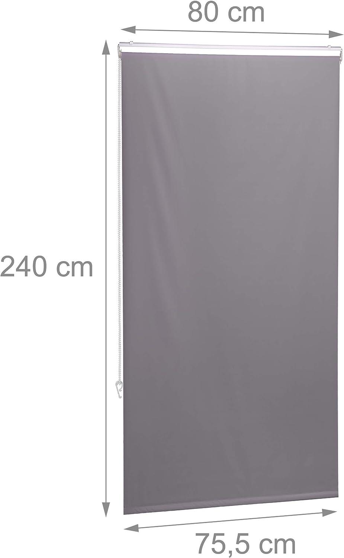 Montaggio a Soffitto 60x240 Vasca da Bagno Idrorepellente Rullo Finestra,Grigia Relaxdays Tenda per Doccia Moderna
