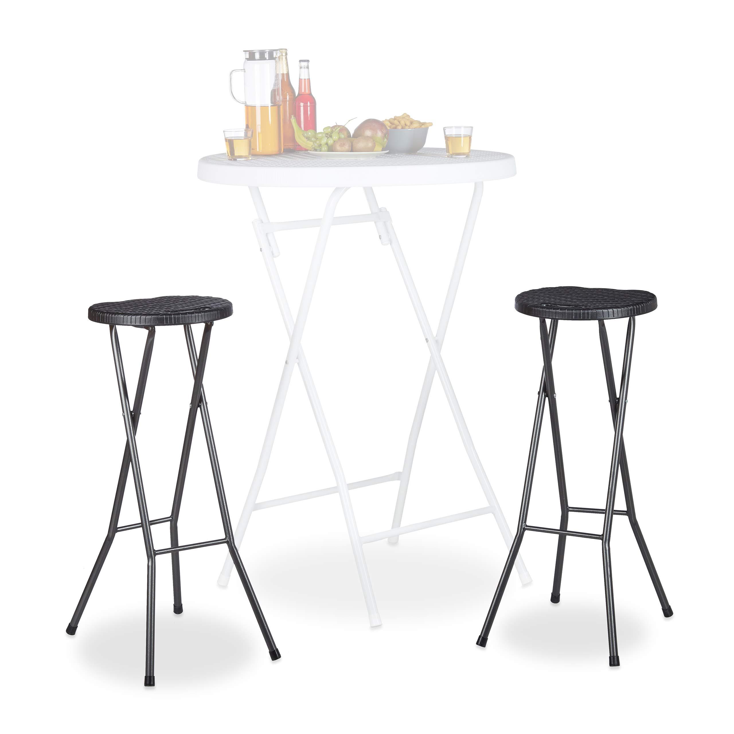 Relaxdays Bastian - Taburetes de bar plegables, Impermeable, Plástico, 80 cm de Altura, 2 unidades: Amazon.es: Hogar