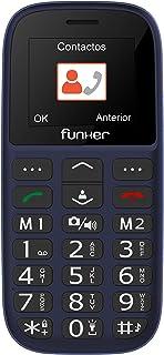 Teléfono Móvil Funker - C65 Azul Easy Plus- para Personas Mayores con botón SOS y Base cargadora. Cámara de Fotos y Agenda con Fotocontactos.