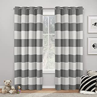Exclusive Home Curtains Rugby Sateen Room Darkening Blackout Grommet Top Curtain Panel Pair, 52x96, Charcoal