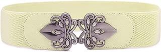 Syuer Womens Vintage Wide Elastic Stretch Waist Belt Retro Cinch Belt (XL-XXL (35-45) Cream)