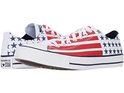 Converse Chuck Taylor All Star Stars and Stripes Ox (White/Obsidian/University Red) Shoes