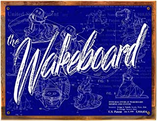 Wood-Framed Wake Board Patent Blueprint Metal Sign for Decorating Lake House, Boat, Marina, Vacation Home on reclaimed, rustic wood