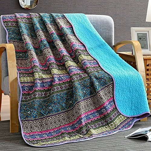 Unimall 4526629 Vintage Tagesdecke Baumwolle Steppdecke für Erwachsenen und Kinder Patchwork Sofaüberwurf 150 x 200 cm, Violett