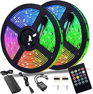 LED Strip Lights Smart Color Changing Rope Lights 32.8ft/10M SMD 5050 RGB Light Strips with Music Controller Sync to Music...