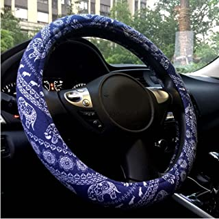 Men's Automotive Ethnic Flax Cloth Cute Elephant Universal Car Steering Wheel Cover Elephone