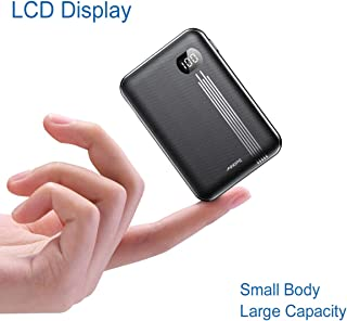 Portable Charger 10000mAh, AINOPE LCD Display One of The Smallest and Lightest 10000mAh External Battery, 2 USB Outputs External Battery Pack/Travel Power Bank/Phone Backup for iPhone Samsung and more