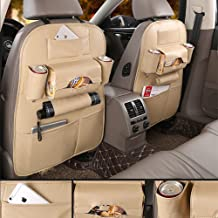 Car Back Seat Organizer Protector and iPad mini Holder Bag - 1 PACK Travel Accessories Toy Storage Bag with Tablet Holder for Kids, Storage Bottles, Tissue Box, Backseat Cover, Kick Mats (Beige)
