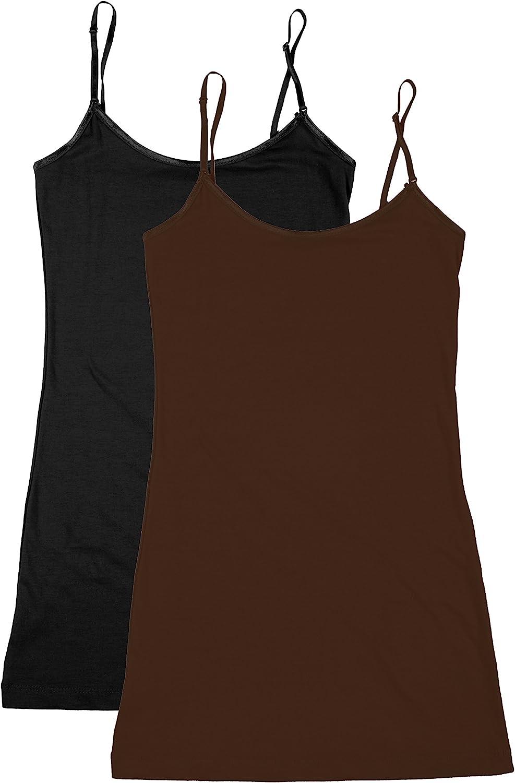 Bozzolo XT1002L Plus Size Adjustable Spaghetti Strap Trim Long Tank Top 2Pack - Black/Brown 3XL