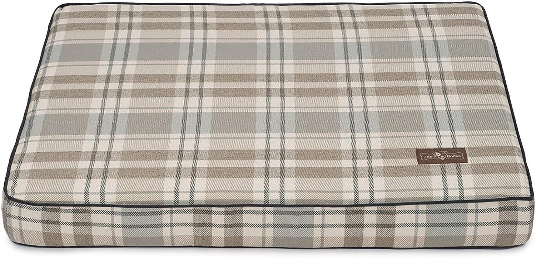 Jax and Bones Kensington Fog Premium Cotton Blend Rectangular Memory Foam Pillow Dog Bed, Medium