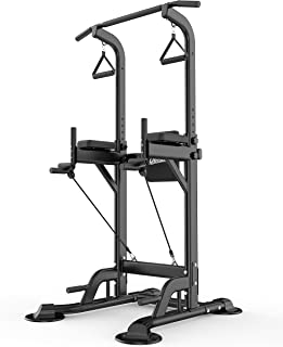 UBOWAY Power Tower -Pull Up Bar Stand &Dip Station Adjustable Height Heavy Duty Multi-Function Fitness Training Equipment Home Gym