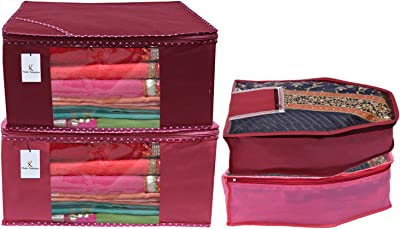 Kuber Industries Non Woven 2 Pieces Saree Cover/Cloth Wardrobe Organizer and 2 Pieces Blouse Cover Combo Set (Pink & Maroon)