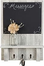 Drakestone Designs Chalkboard Display Shelf Key Hooks | Wall Mount | Handmade Rustic Reclaimed Wood | 24 x 17.5 Inch - Whi...