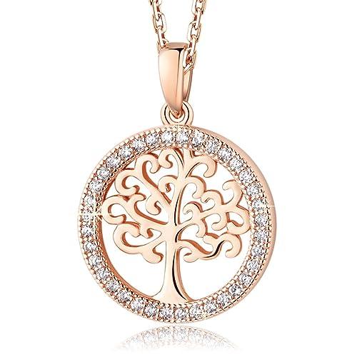 36d2fa35ea521 MEGA CREATIVE JEWELRY Collar para Mujer Árbol de la Vida Plata 925 con Cristales  Swarovski