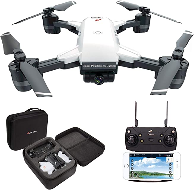 le-idea IDEA10 Drone GPS WiFi FPV Quadcopter con Cámara 1080P HD con Follow Me 120º Gran Angular RTF Altitude Hold Modo Sin Cabeza y Retorno a Casa