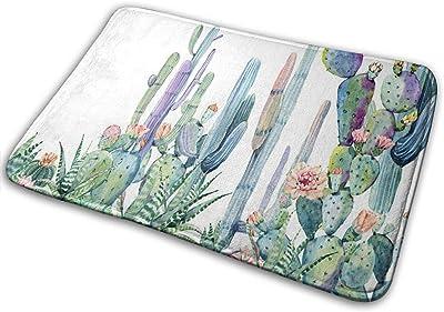 Watercolor Cactus Bath Mat Painted Plants and Flowers Non Slip Super Bathroom Rug Indoor Carpet Doormat Floor Dirt Trapper Mats Shoes Scraper 24x16 Inch