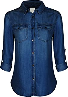 Design by Olivia Women's Classic Vintage Long/Roll Up Sleeve Button Down Denim Chambray Shirt