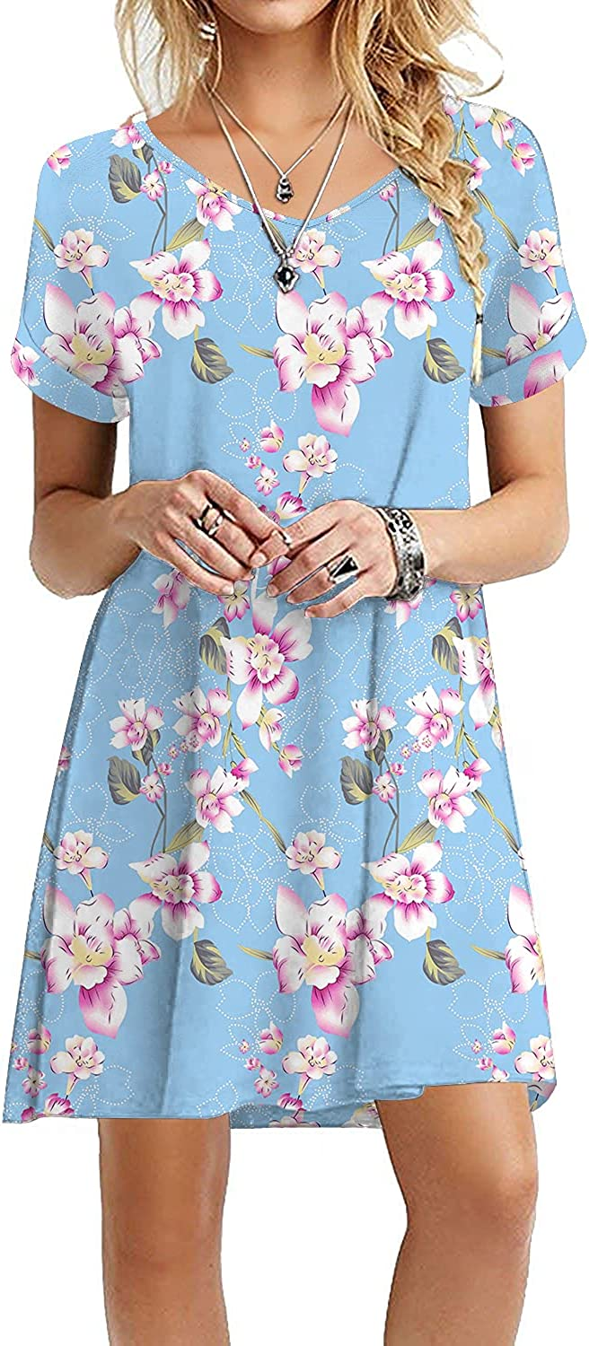 WEACZZY Women's Summer Casual Tshirt Dresses Short Sleeve Loose Dress with Pockets (YH-Light Blue,XX-Large)