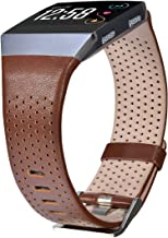 CAGOS Compatible with Fitbit Ionic Bands Men Women, Breathable Genuine Leather Straps Replacement Accessories Wristbands for Fitbit Ionic Smart Watch (Dark Brown£¬Large(6.29''-8.66''))