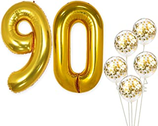 KatchOn Number 90 and Gold Confetti Balloons - Large, 40 Inch Foiil Gold Balloons | 5 Gold Confetti Balloons, 12 Inch | 90th Birthday Party Decorations | Party Supplies for Anniversary Décor