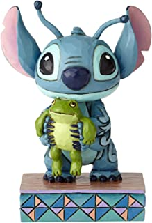 """Enesco Disney Traditions by Jim Shore """"Lilo and Stitch"""" Stich and Frog Stone Resin, 4"""" Figurine, 4 Inches, Multicolor"""