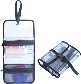 TSA Approved Toiletry Bag Clear Travel Bag Cosmetic Bags Makeup Organizer Bag Folding Travel Bag With A Hanging Strap (Clear)