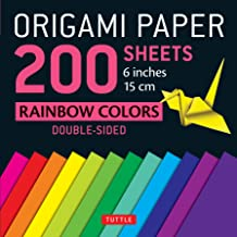 "Origami Paper 200 sheets Rainbow Colors 6"" (15 cm): Tuttle Origami Paper: High-Quality Double Sided Origami Sheets Printed with 12 Different Designs (Instructions for 6 Projects Included)"