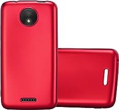 Cadorabo Funda para Motorola Moto C en Metallic Rojo – Cubierta Proteccíon de Silicona TPU Delgada e Flexible con Antichoque – Gel Case Cover Carcasa Ligera