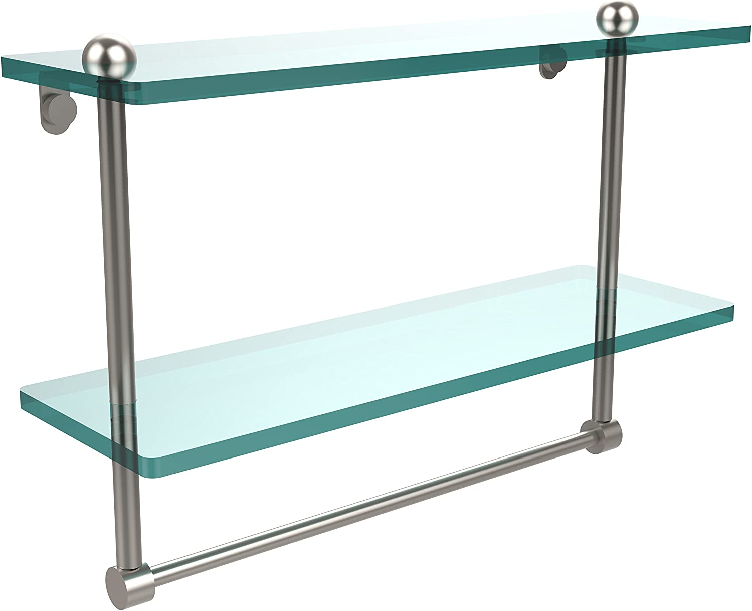 Allied Brass RC-2 16TB-SN 16 Inch Two Tiered Glass Shelf with Integrated Towel Bar, Satin Nickel