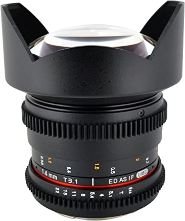 Rokinon Cine CV14M-S 14mm T3.1 Cine Wide Angle Fixed Lens for Sony Alpha with De-Clicked Aperture and Follow Focus Compatibility 14-14mm Wide-Angle Lens