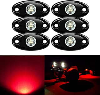 6 Pods LED Rock Lights, Ampper Waterproof LED Neon Underglow Light for Car Truck ATV UTV SUV Jeep Offroad Boat Underbody Glow Trail Rig Lamp (Red)