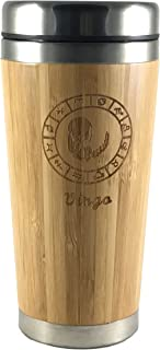 The Zodiac Mug   Premium insulated travel mug for Coffee & Tea   Natural bamboo and Stainless Steel   15.2 oz.(450ml)   Spill Proof Lid   Slip resilient base   Wooden engraving (Virgo)