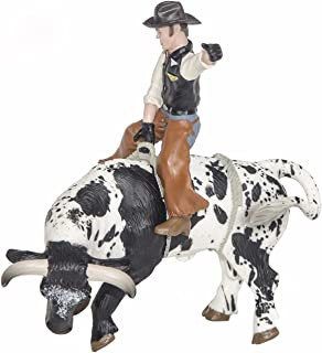 Little Buster Toys Bull Rider - Cowboy on a Black and White Bucking Bull, 1/16th Scale