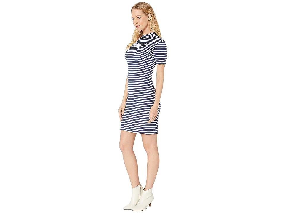 Bebe Short Sleeve, Mock Neck Striped Logo Dress with V-Back Detail (Navy/White) Women