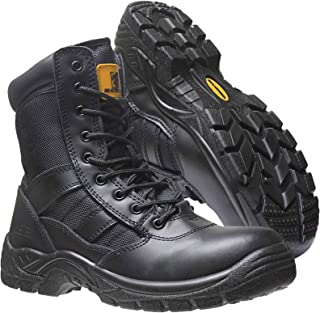 Mens Leather Lightweight Safety Steel Toe Cap Army Military Patrol Black Combat Work Zip/Lace Up Boots Cadet Security Shoe...