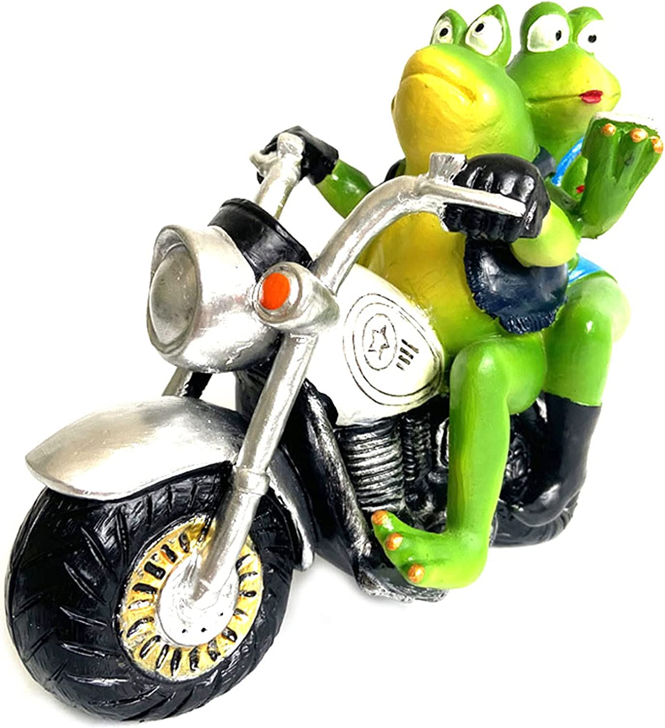 sold out 01SHIRTS Frogs Couple on Motorcycle Resin Statues Orname Desktop NEW before selling