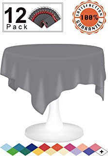 Silver Plastic Tablecloths Disposable Table Covers 12 Pack Premium 84 Inches Round Table Cloths for Round Tables up to 6 Feet and for Picnic BBQ Birthdays Thanksgiving any Occasions, PEVA Material