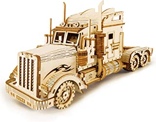 ROKR 3D Wooden Puzzle for Adults-Mechanical Car Model Kits-Brain Teaser Puzzles-Vehicle Building Kits-Unique Gift for Kids on Birthday/Christmas Day(1:40 Scale)(MC502-Heavy Truck)
