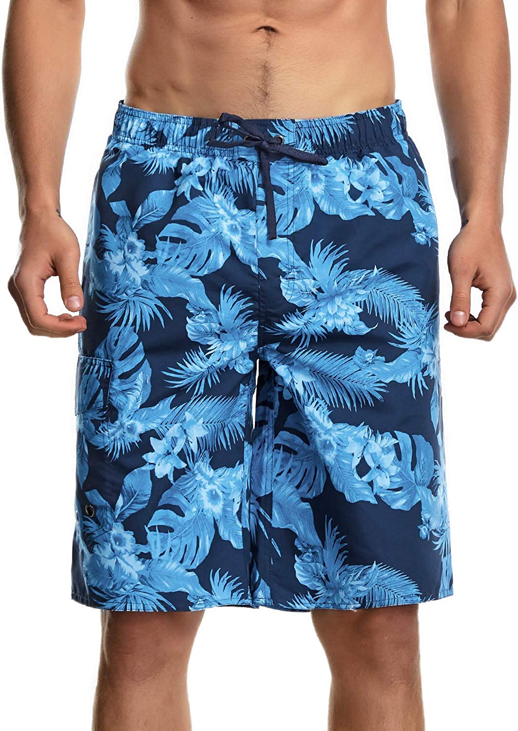 KLY Board Shorts for Men Swim Trunks Long Quick Dry with Lining and Pockets