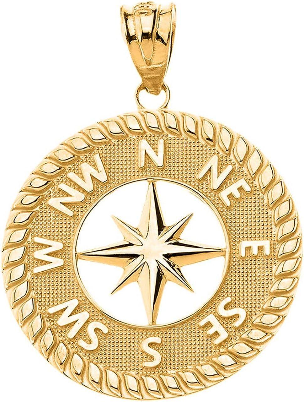 Certified 14k Gold Nautical Navigation Compass North Star Starburst Pendant