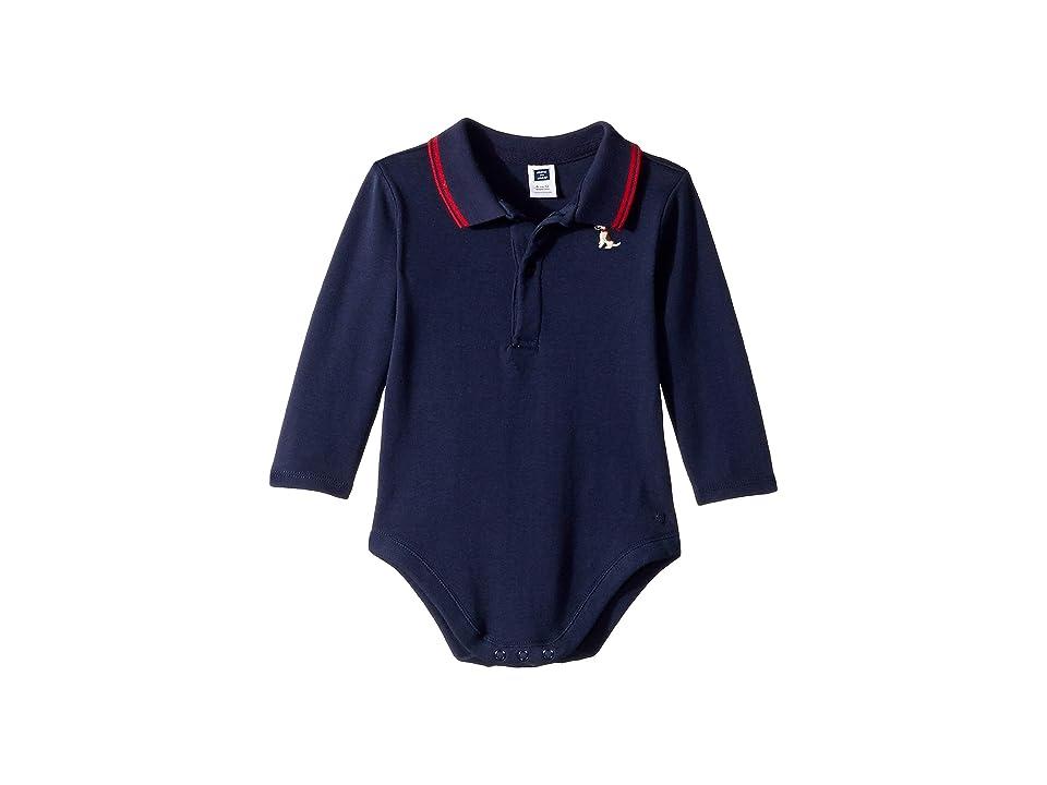 Janie and Jack Long Sleeve Polo Bodysuit (Infant) (Navy Dog) Boy