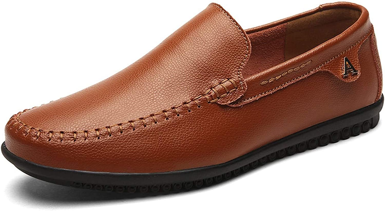 Can't be satisfied Mens shoes Large Casual Loafers shoes Men Black Driving Moccasins Men shoes Loafers British Slip On,Brown,9.5