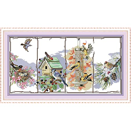 DIY Handmade Needlework Set Cross-Stitching Accurate Stamped Patterns Embroidery Home Labellevie Cross Stitch Kits Four Seasons 11 CT 26X18 Autumn